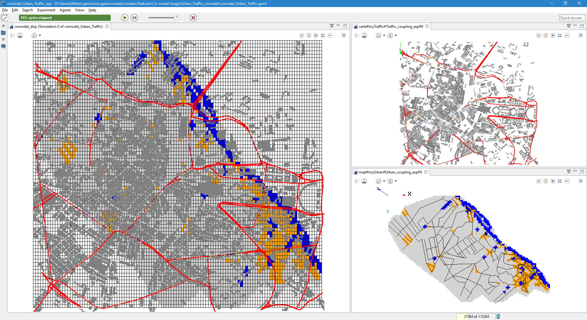 Co-modeling example: urbanization model with a Traffic model.