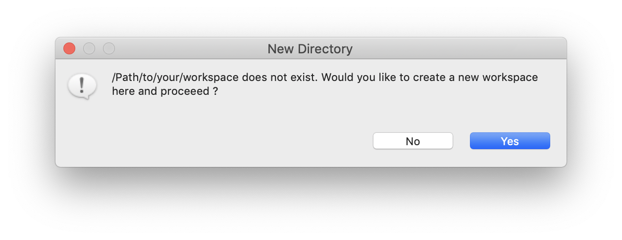 This pop-up appears when the user wants to create a new workspace. Click on OK.