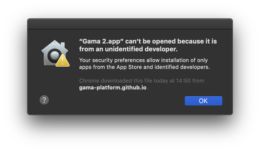 At the first launch on Mac OS X, Gama.app cannot be opened as it comes from an unidentified developer.