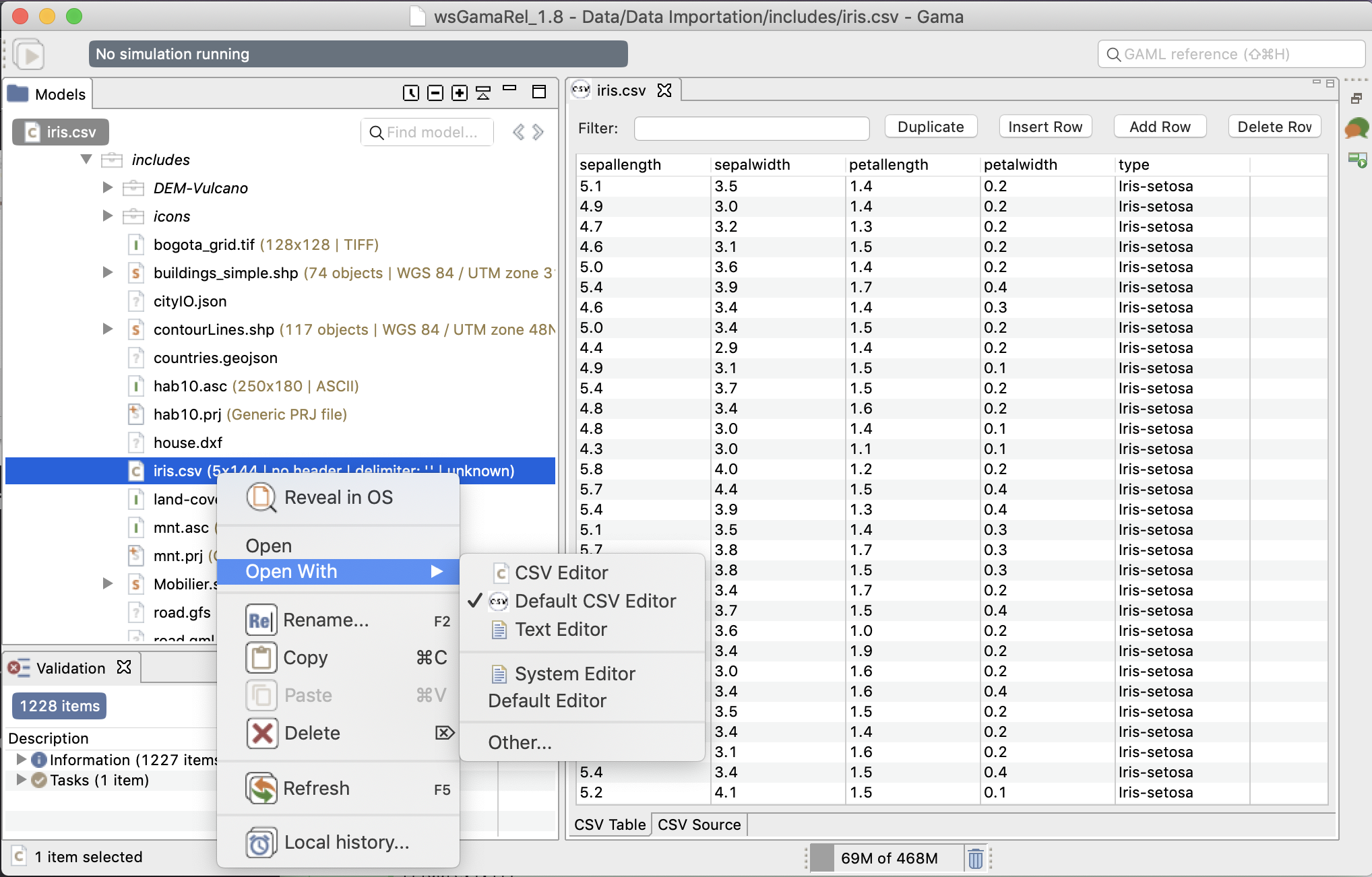 Screenshot of a CSV file opened with CSV Edit