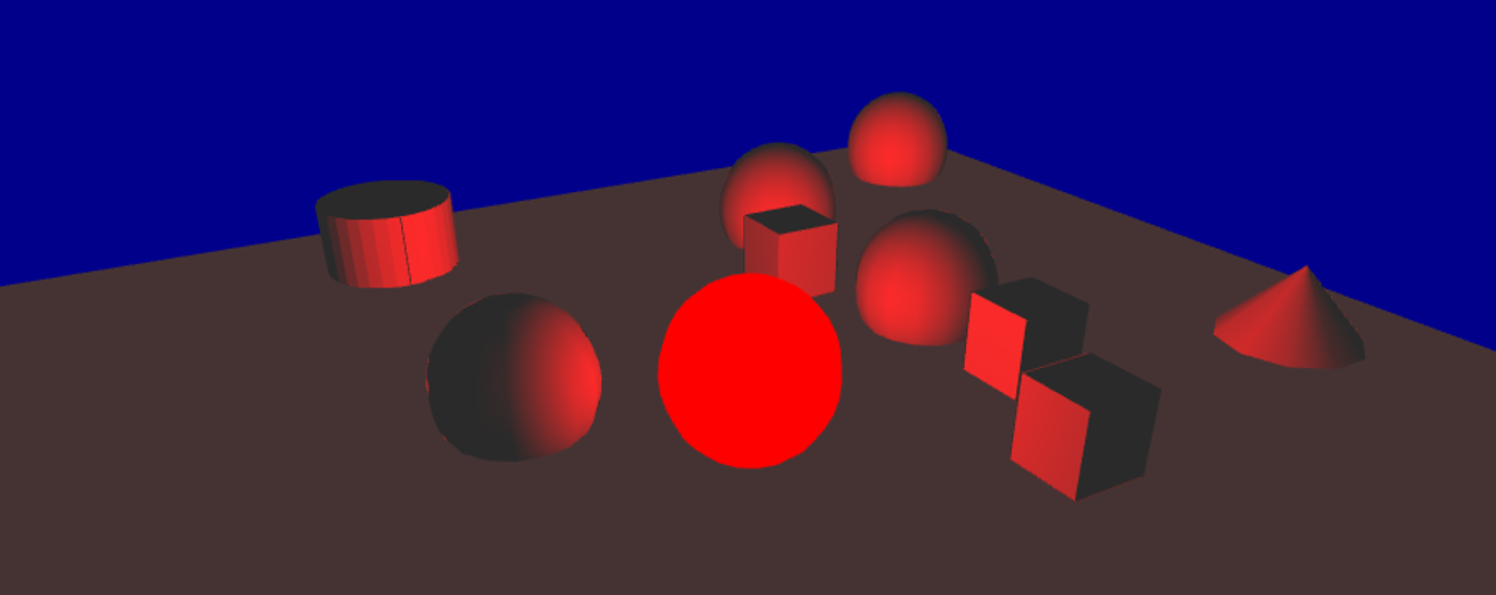 Scene with only a red point light.