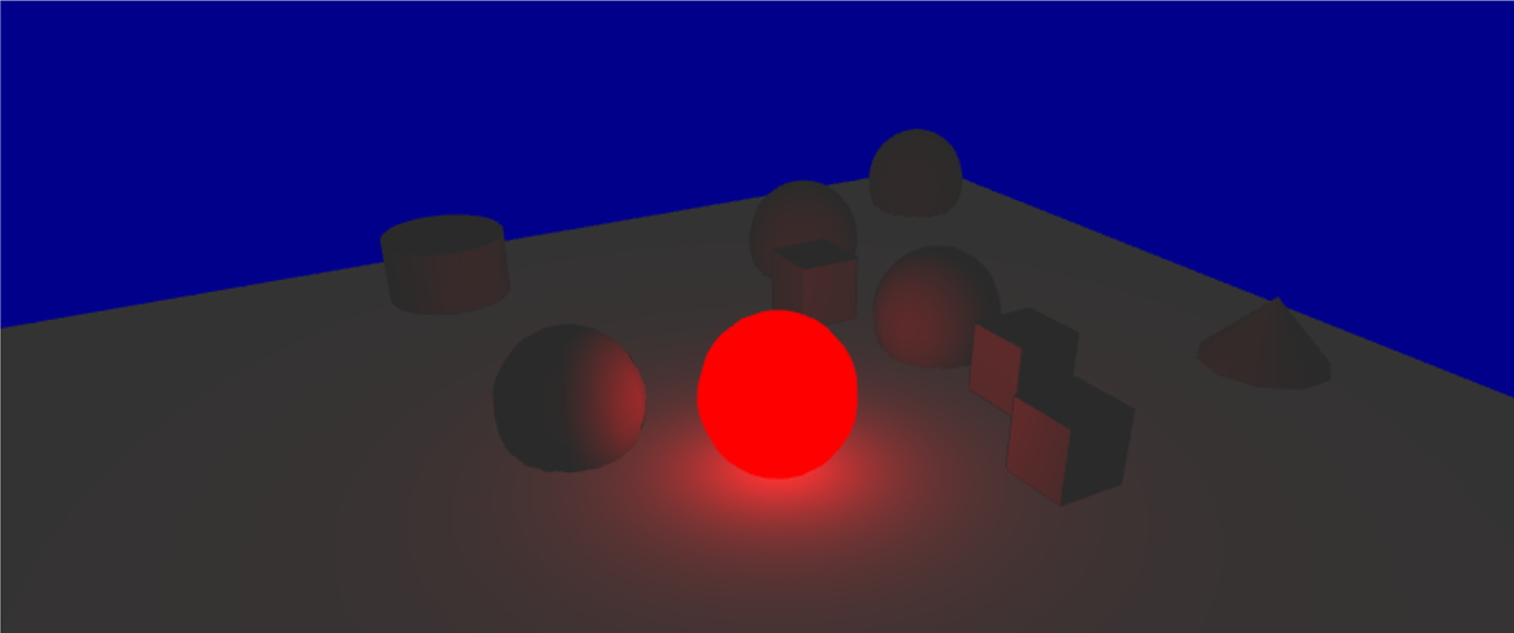 Scene with only diffusion light and red point light with linear attenuation.