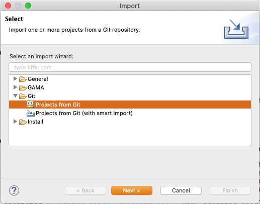 Import git project - Next