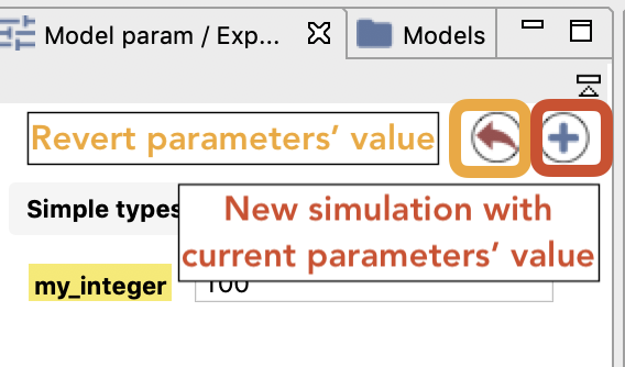 Buttons in the Parameter View.