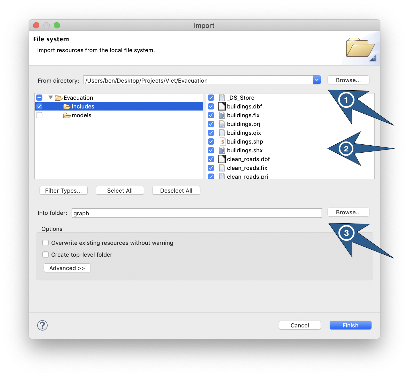 Dialog box to import external files into an existing project of the workspace.